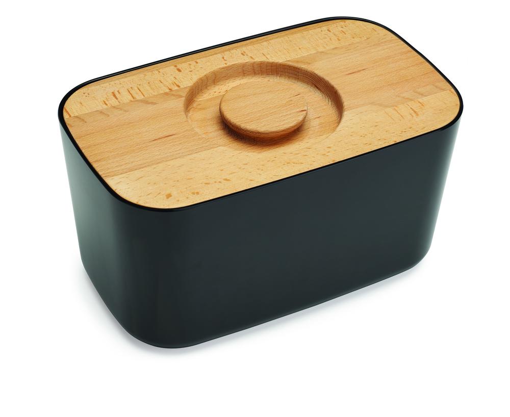 Хлебница с деревянной крышкой/доской для резки черная