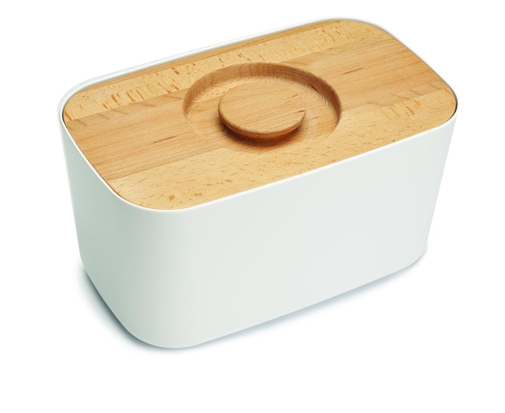 Хлебница с деревянной крышкой/доской для резки белая