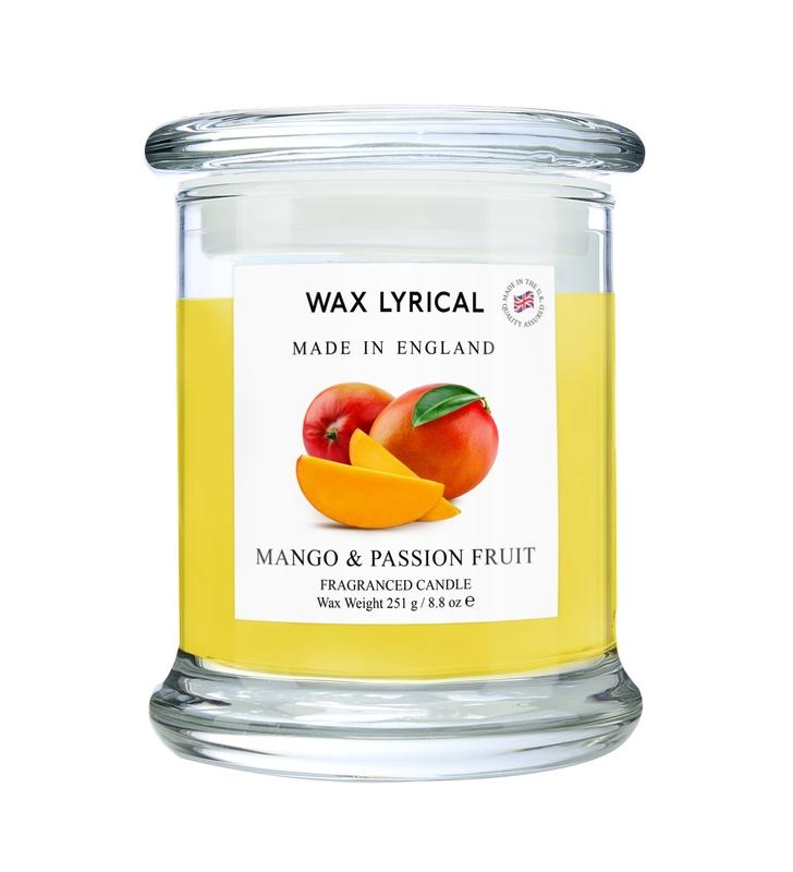 Свеча ароматическая в стекле Манго и маракуйя большая